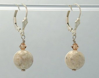 River Stone Earrings (River Stone beads, topaz colored Swarovski Crystal Sterling Silver fleur de lis lever backs and findings)