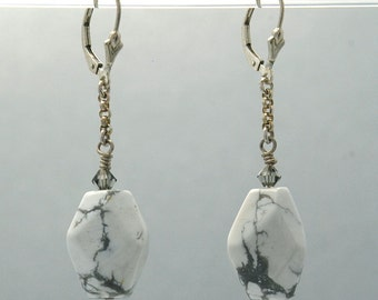 White and Gray Howlite CALM AWARENESS Earrings with smokey gray Swarovski Crystals in Sterling Silver