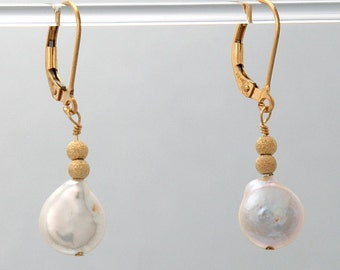 Coin Pearl earrings in 14k Gold Filled for Pure Serenity 2