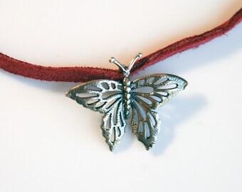 Maroon Butterfly choker necklace / Butterfly necklace / Butterfly jewerly / Sterling Silver Butterfly pendant / Silver Butterfly choker