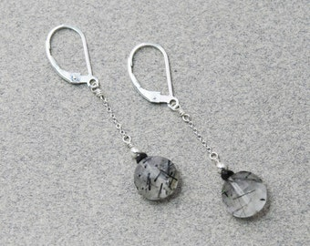Tourmalated Quartz earrings / Tourmalinated Quartz earrings / Black Tourmaline Rutilated Quartz / Sterling Silver for GROUNDED PROTECTION