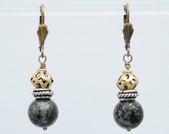 Pyrite, Brass, and Vermeil earrings for BALANCED SUCCESS with Sterling Silver