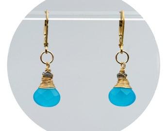 Receiving Grace Gold earrings - small - (Turquoise colored Ocean Quartz teardrops, Labradorite, 14k Gold Filled lever backs)