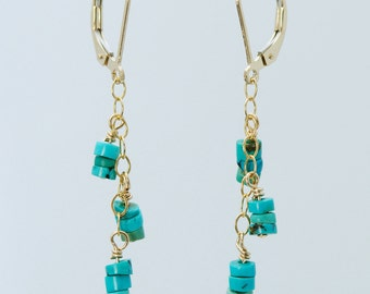 Tiny Turquoise Heishe dangle earrings for SPIRIT QUEST (Turquoise heishe beads, 14K Gold Filled chain, wire, and lever backs)