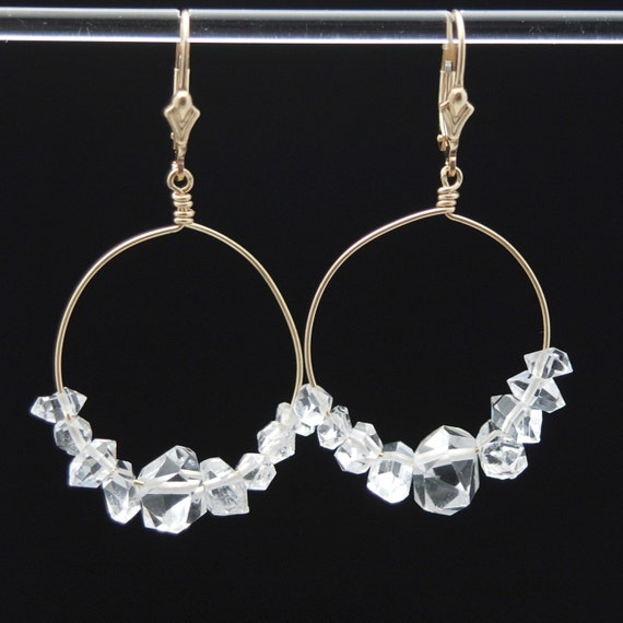 Herkimer Diamond 14K Gold Filled earrings to Manifest Abundance with posts or lever backs