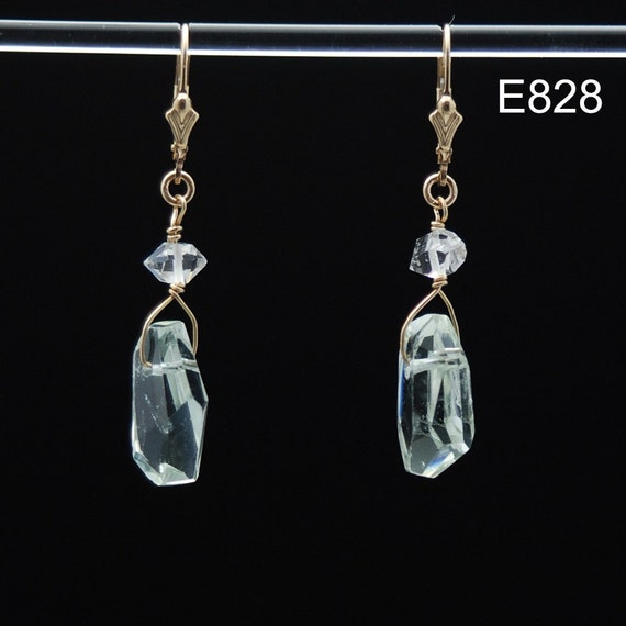 Green Amethyst & Herkimer Diamond Healing Vibration earrings in 14K Gold Fill