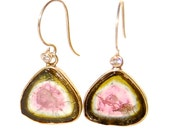 Watermelon Tourmaline Slice Earrings with Diamonds and Gold
