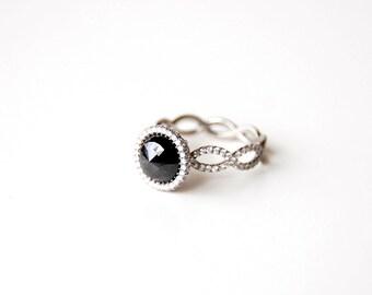 Engagement Ring, Rose Cut Black Diamond Ring, Black Diamond Ring, Platinum Ring, Diamond Platinum Ring, Anniversary Ring,OOAK, Nixin
