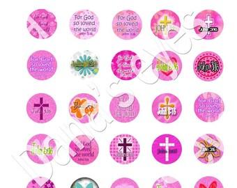 Christian Book of John bible verse digital collage one inch circles scripture crafts bottle cap pendants christian downloads