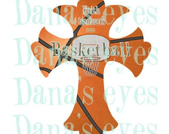 Basketball Christian Graphic Printable Faith Cross For Craft Supplies