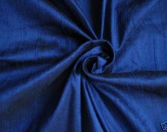 "Royal Blue 100% dupioni silk fabric yardage By the Yard 45"" wide"