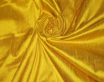 "Bright Sun Sunny Yellow 100% Dupioni Silk Fabric Wholesale Roll/ Bolt 55"" wide"