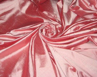 "Baby Pink and Rose Pink iridescent 100% Shantung silk yardage By the yard 55"" wide"