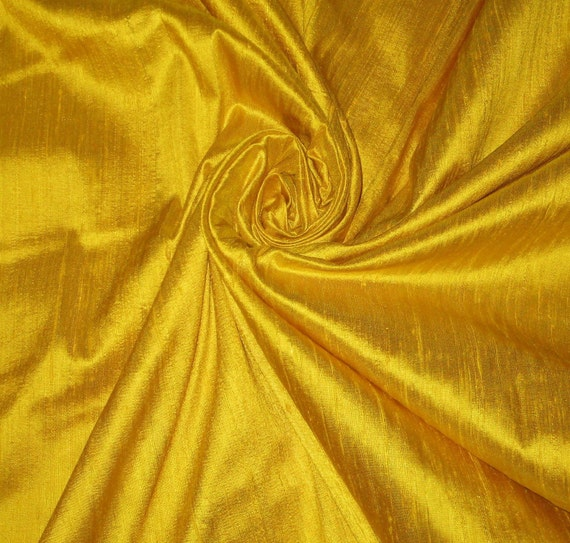 Bright Sun Sunny Yellow 100% Dupioni Silk Fabric Wholesale Roll/ Bolt