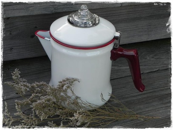 Reserved for Grexy Vintage White and Red Enamelware Coffee Pot