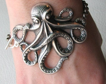 octopus bracelet - silver - american made