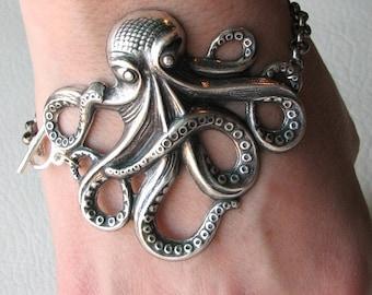 octopus bracelet - silver - american made