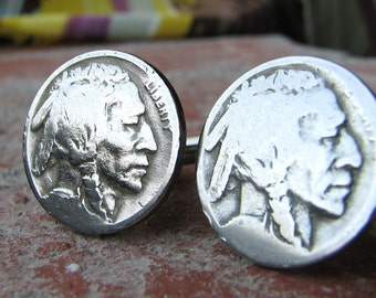 Indian head nickel cufflinks - buffalo nickel cuff links mens tribal traditional style / historical gifts for him