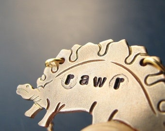 stegosaurus necklace - dinosaur jewelry - rawr hand stamped