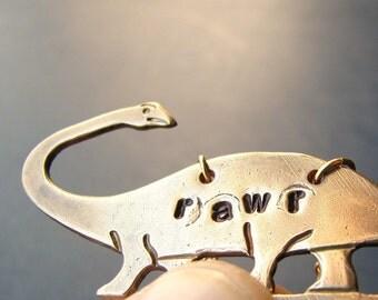 brontosaurus necklace - hand stamped dinosaur jewelry - rawr- apatosaurus