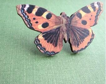 orange butterfly or moth brooch pin