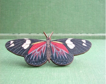 butterfly brooch pin - red and black