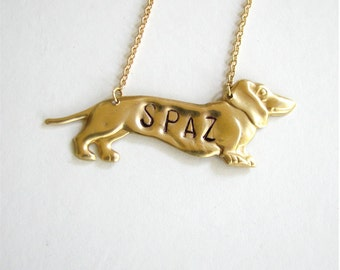 doxie personalized dog necklace - custom dachshund jewelry