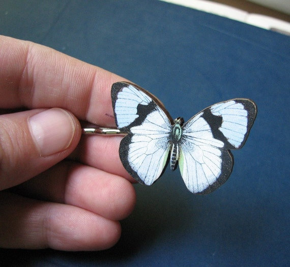 butterfly hair pin - pale blue and white