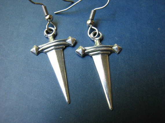 silver dagger earrings - sword jewelry