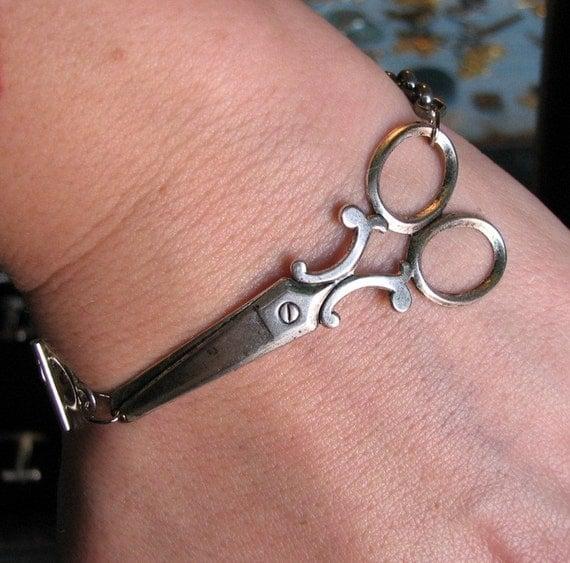 scissor bracelet - silver shears jewelry - american made - beautician scissors bracelet