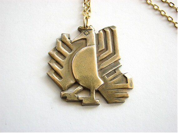 aztec rooster necklace - funky chicken vintage tribal style