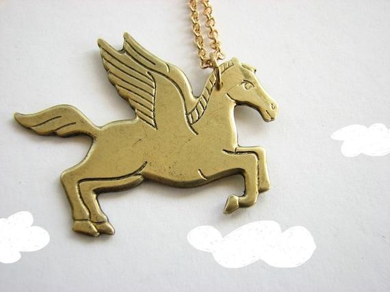 pegasus necklace - vintage brass