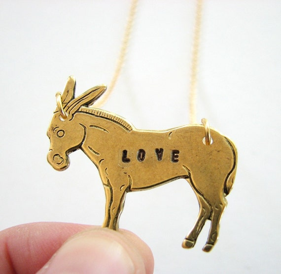 love donkey necklace - hand stamped brass jewelry