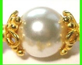 8x Medium 24k gold plated sterling silver bead caps 8.5mm x4mm VC02