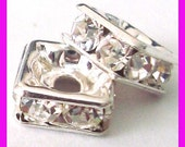 4x sterling silver square CZ crystal bead spacer S70s