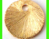 10pcs 10mm gold plated sterling silver ROUND Top drill flat brushed disk disc dangle charm  vd29