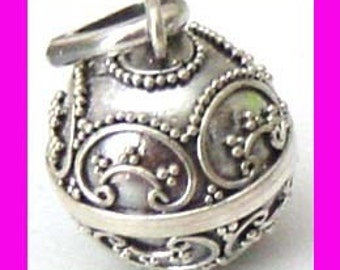 14mm Sterling Silver handcrafted Small  Bali Harmony Jingle Bell Ball Pendant Charm hm10