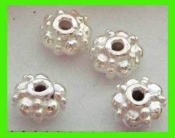 15 small 4.5mm Bright Sterling Silver  rondelle bali Spacers S02