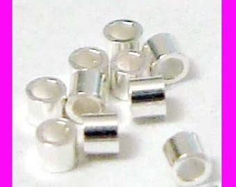 500pcs 1mm x 1mm Sterling Silver crimp bead mini tube spacer  F34