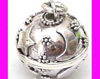 14mm 16mm handcrafted Small  Moon Star Bali Harmony Jingle Bell Ball Pendant Charm hm2