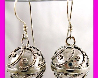 14mm ball Handcrafted Bali 925 Sterling Silver Harmony Ball Earrings HE18