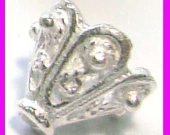 4x Ornate Bright Sterling silver Cone Bead caps Beadcap 10mm x 9mm C39