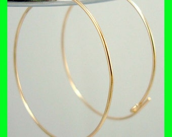 45mm round 14k yellow Gold Filled beading endless hoop Earring Ear Wire Earwire  GE10-45
