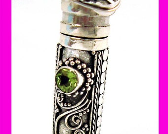 """Sterling silver Prayer Box with peridot periodot August Birthstone and 18"""" bead chain necklace PR4"""