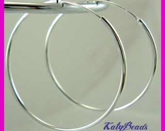 30mm 925 Sterling Silver Endless hoop tube Earring Round Circle Ear Wire Earwires E65