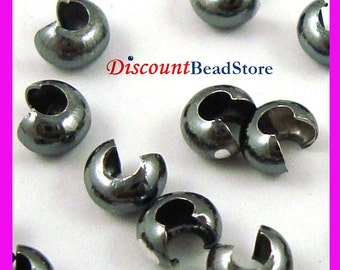 50pcs 3mm strong oxidized black (gun metal color, rusty) sterling Silver crimp bead cover F36k