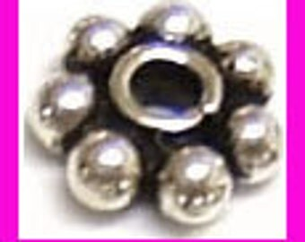6mm Daisy oxidized bali 925 solid Sterling Silver bead Spacers 20pcs S19