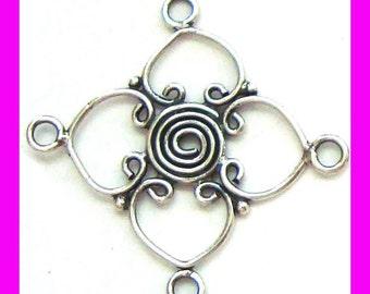 4 Sterling silver swirl eye bali earring pendant connector H13