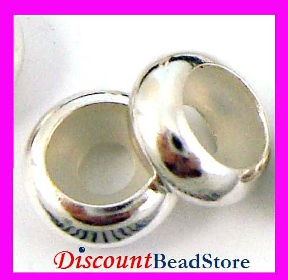 5pcs 8mm Sterling Silver Bead blocker Stopper for 4mm - 5mm Leather Bracelet made in USA BB11