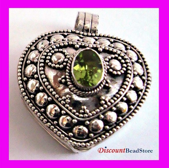 Heart Shaped Sterling Silver locket prayer box Pendant with August birthstone green Peridot with or without solid silver chain PL3